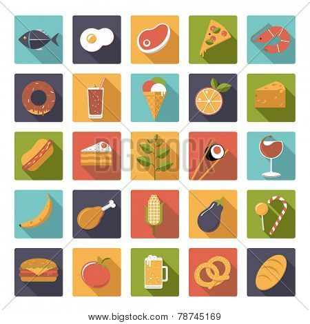 Square food icons vector set. Collection of 25 flat design food and drink vector icons in square shape with rounded corners