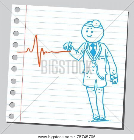 Doctor drawing heartbeat line