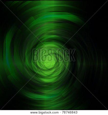 Green spiral dark light background