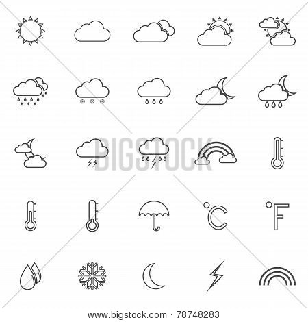 Weather Line Icons On White Background