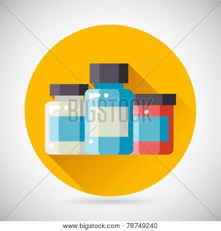 Drug Cure Medicine Box Vial Bottle Jar Icon heal treatment symbol on Stylish Background Modern Flat