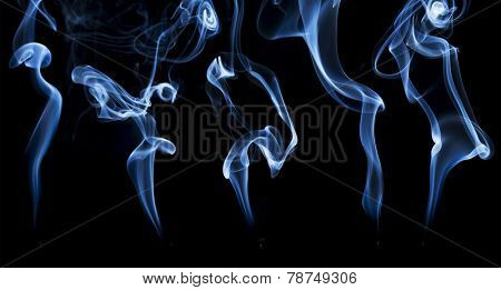 delicate smoke from a burning incense stick, a collage of five plumes