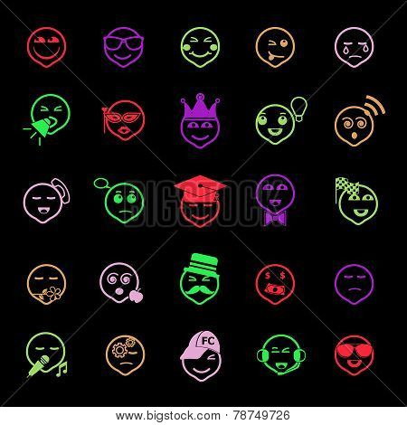 Face Action Line Icons Flat Color