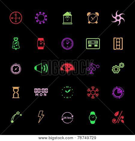 Design Time And Direction Line Icons Flat Color