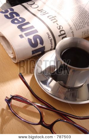 Black Coffee, Newspaper and Glasses