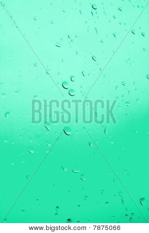 Green Glass With Drops