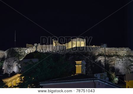 Erechtheion temple illuminated Athens acropolis, Greece