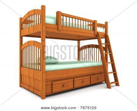bunk bed isolated on white background with clipping path