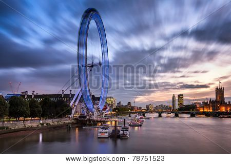 London Eye And Westminster Bridge In The Evening, United Kingdom