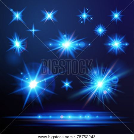 Blue flare lights set for your designs