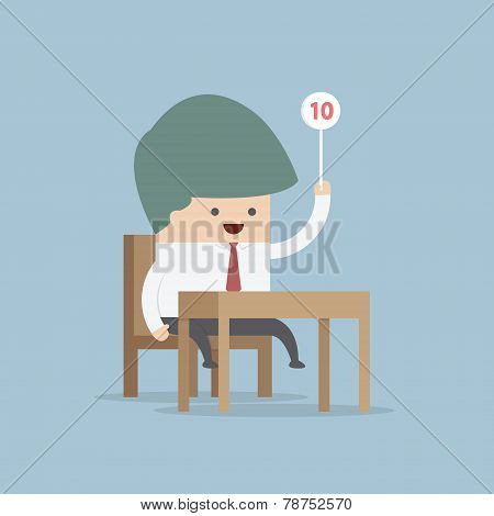 Businessman Judge Holding Ten Score Signs