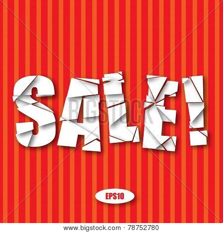 Sale Cut Paper Poster on red stripes background