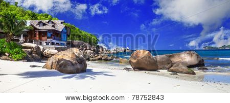 panoramic view of beautiful beach with villa, Seychelles