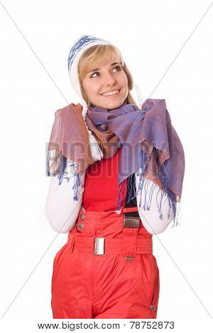 Woman Wearing Mountain-skiing Suit