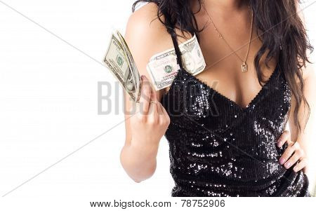 Unrecognizable Woman With Dollars