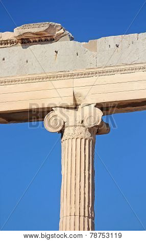 Ionic Column Of The Erechtheion, Athens, Greece