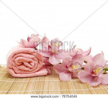Roller towel with branch on bamboo mat