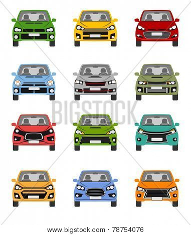 An illustration of front end of different compact car concepts