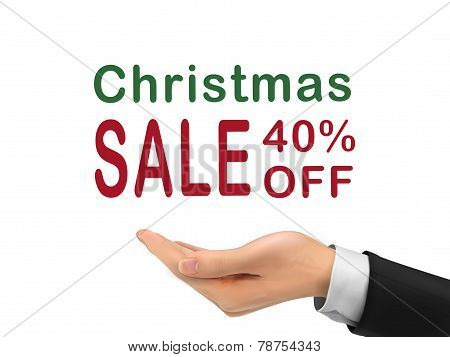 Christmas Sale 40 Percent Off Holding By Realistic Hand