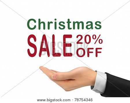 Christmas Sale 20 Percent Off Holding By Realistic Hand