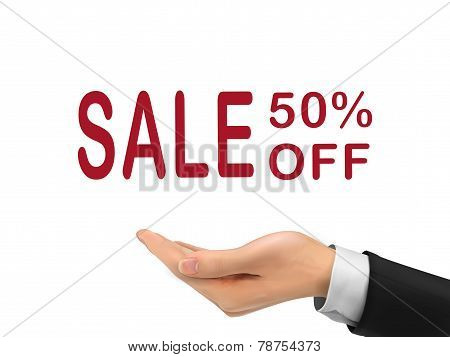 Sale 50 Percent Off Holding By Realistic Hand