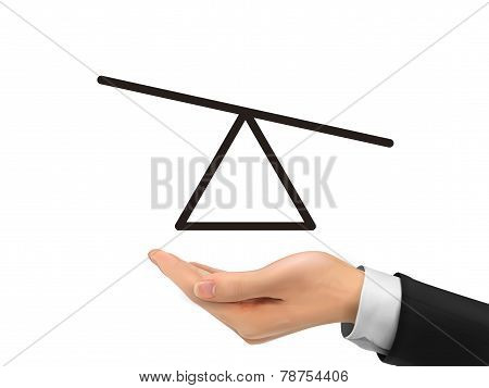 Seesaw Diagram Holding By Realistic Hand