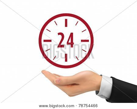 24 Hours Service Icon Holding By Realistic Hand
