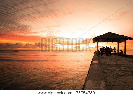 Waikiki Cement Pier At Sunset
