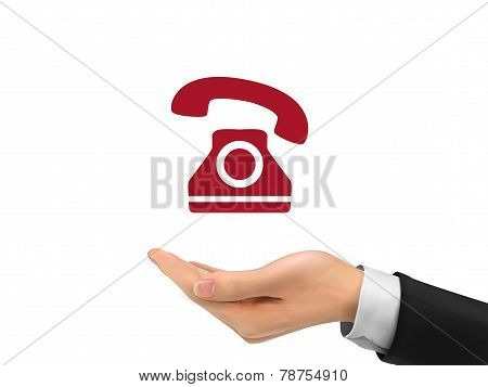 Phone Icon Holding By Realistic Hand