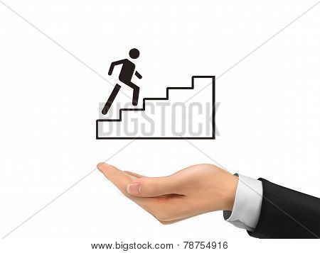 Going Up Stairs Holding By Realistic Hand