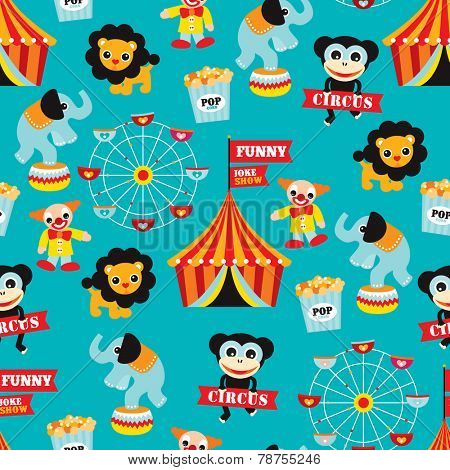 Seamless circus animals carnival fun fair illustration kids background pattern in vector