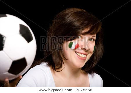Young Female Italian Soccer Team Fan Isolated On Black