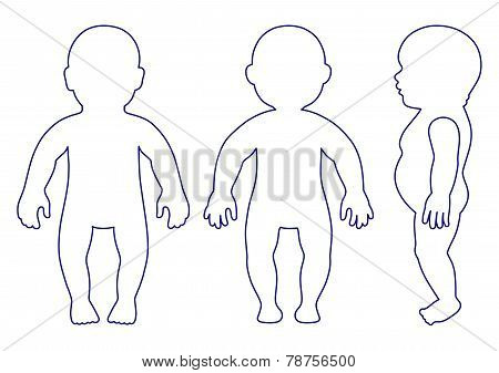 Full Length Front, Side, Back View Standing, Lying Baby Outlined Silhouette
