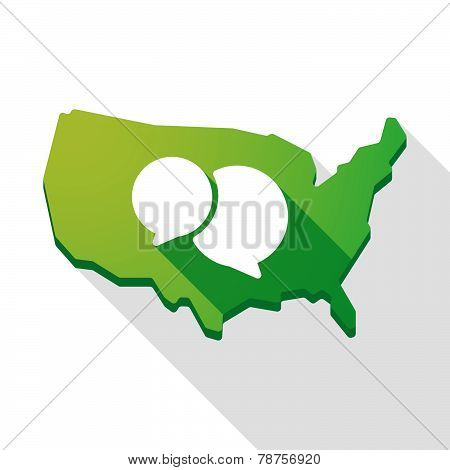 Usa Map Icon With A Comic Balloon