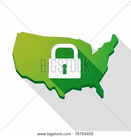 Usa Map Icon With A Lock Pad