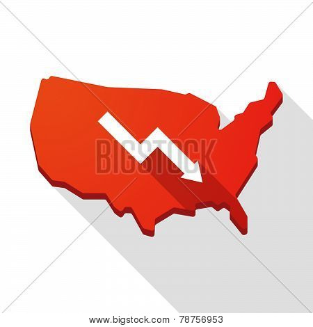 Usa Map Icon With A Graph