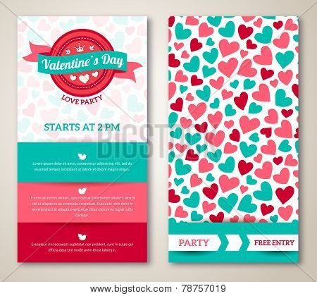 Beautiful greeting or invitation cards with heart pattern