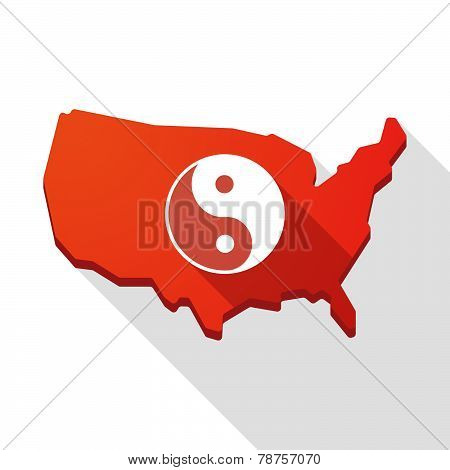 Usa Map Icon With A Ying Yang Sign