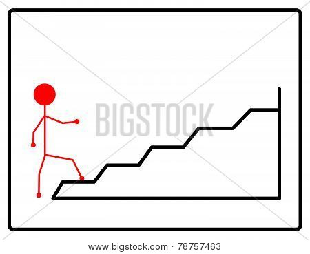 Symbol of people walking up the stairs