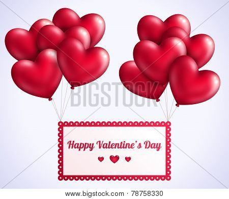 Valentine's day background with red flying hearts balloons.