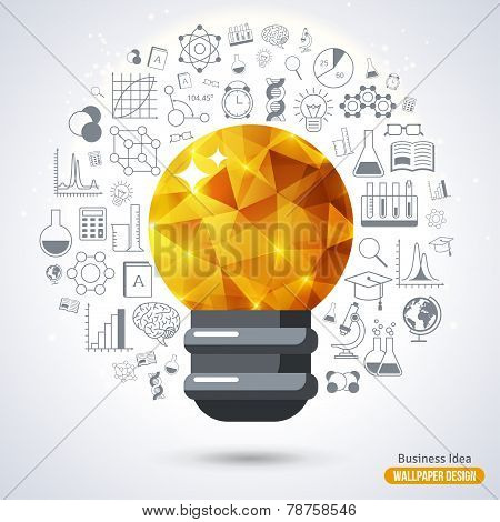 Light Bulb with Triangle Pattern background.