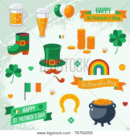 Set of St. Patrick's Day symbols.
