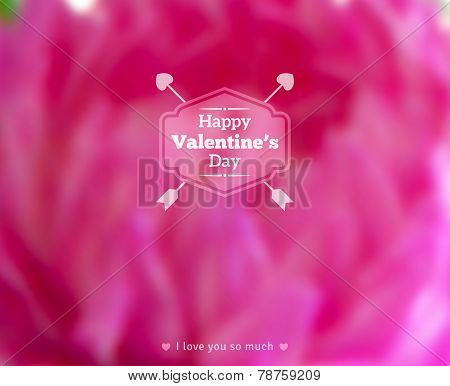Happy Valentine's Day Text on Blurred Background with Peony Flower.