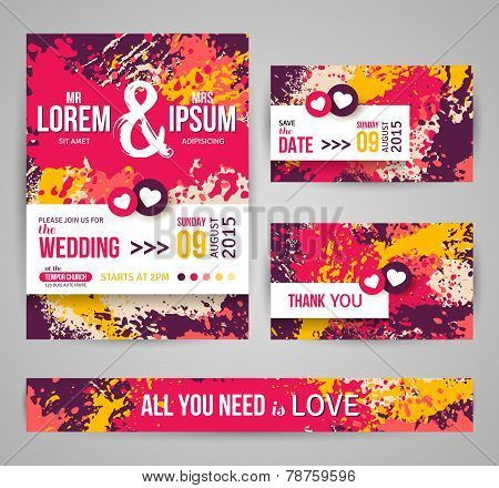 Save The Date and Wedding Invitation Cards With Paint Splashes