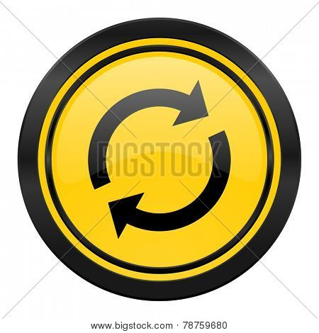 reload icon, yellow logo, refresh sign