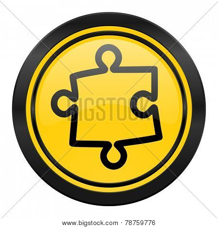 puzzle icon, yellow logo
