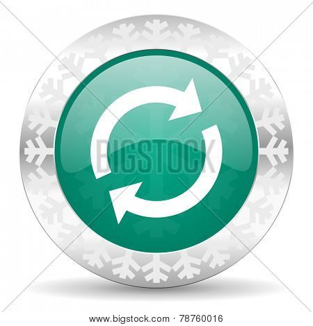 reload green icon, christmas button, refresh sign