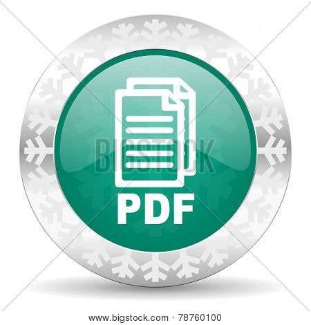 pdf green icon, christmas button, pdf file sign