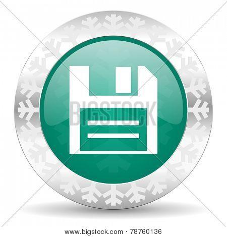 disk green icon, christmas button, data sign