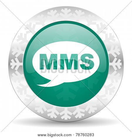 mms green icon, christmas button, message sign